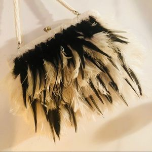 Feathered and beaded Clutch